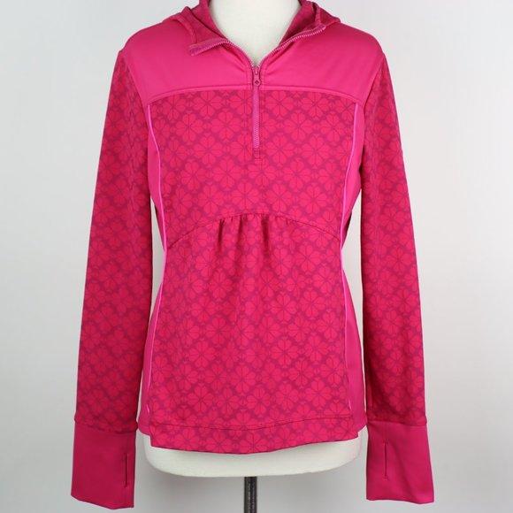 KATE SPADE Flower Half-Zip Hooded Jacket LARGE